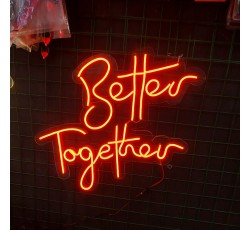 NEON YAZI BETTER TOGETHER - FLEXİBLE LED NEON IŞIK 12 VOLT   - TURUNCU - ORANGE